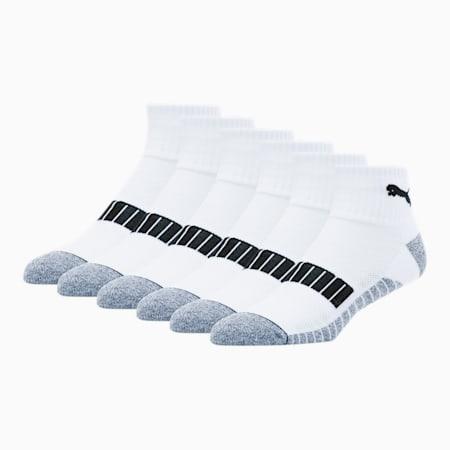 Men's Quarter Crew Socks [3 Pack], WHITE, small